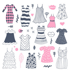 woman fashion hand drawn dresses doodle vector image