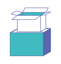 Cardboard box stacked in blue and purple color vector