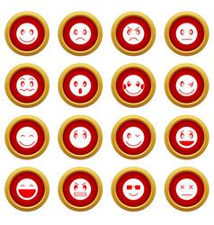 emoticon red circle set vector image vector image
