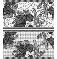 Set of two seamless lace ribbon Black floral vector image vector image