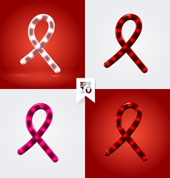 White red and pink ribbon garland cancer and hiv vector image vector image