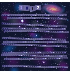 Year Calendar with paper strips on joyful cosmic vector image