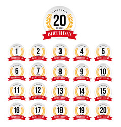birthday badge label set vector image