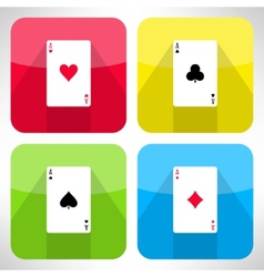 Bright playing cards ace icons set in modern flat vector image vector image