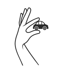Hand with car on white background sale or buy vector