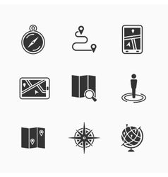 Map icons set vector image vector image
