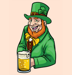 old leprechaun hold a glass of beer vector image vector image