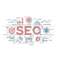seo search engine otimization thin line concept vector image vector image