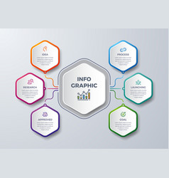 6 steps infographic with different color vector image