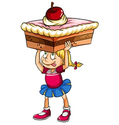 A young girl thinking about a cake vector image