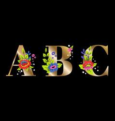 Abc flower letters vector