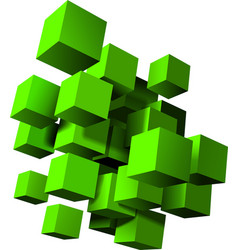 Abstract composition green 3d cubes vector