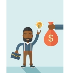 African-american young man with his bag and bulb vector image