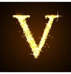 Alphabets v gold glittering stars vector