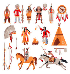 American indians decorative icons set vector
