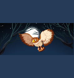 an owl hunting at night vector image