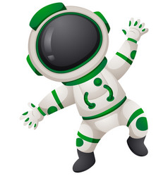 Astronaunt in green and white spacesuit vector