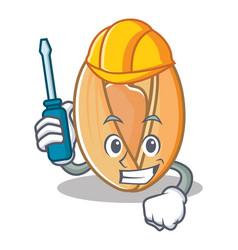 Automotive pistachio nut mascot cartoon vector