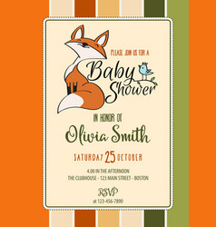 Baby shower card with cute little fox vector