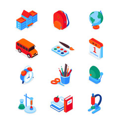 back to school - modern colorful isometric icons vector image