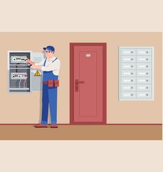 Basic electrical service semi flat vector