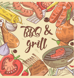 Bbq and grill hand drawn background with steak vector