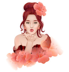 beautiful young woman doing an air kiss vector image