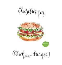 big american cheeseburger vector image