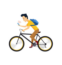 biker with smartphone and backpack people in vector image