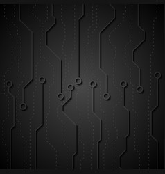 Black circuit board abstract tech background vector