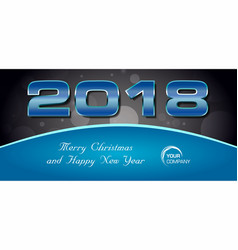 bokeh 2018 happy new year card with blue text vector image