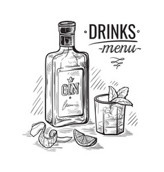 Bottles for alcohol sketch vector