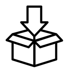 box with arrow down line icon cardboard packaging vector image