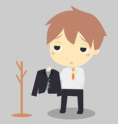 Businessman is tiredHe hang suit at clothes rack vector