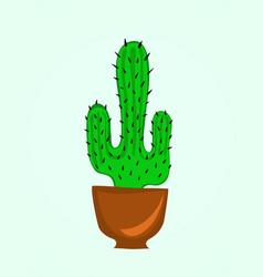cactus flower in pot cartoon vector image