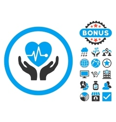 Cardiology Flat Icon with Bonus vector image