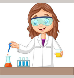 cartoon girl doing chemical experiment vector image