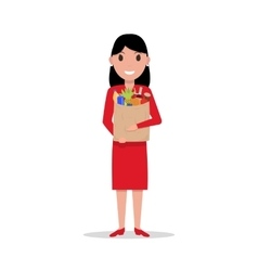 Cartoon woman with paper bag full food vector