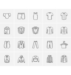 Clothes for men sketch icon set vector