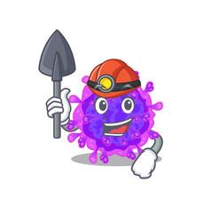 Cool miner worker alpha coronavirus cartoon design vector
