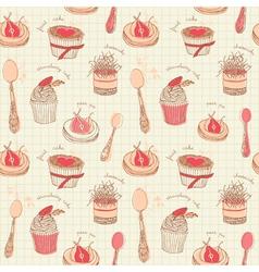 Cupcakes tea set pattern vector
