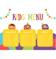 cute colorful kids meal menu with happy children vector image