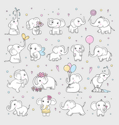 cute elephant wild animals in various poses vector image