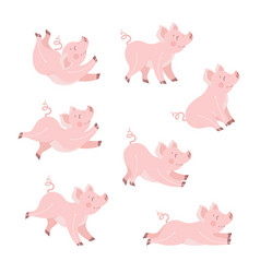 cute pig animation set cartoon vector image