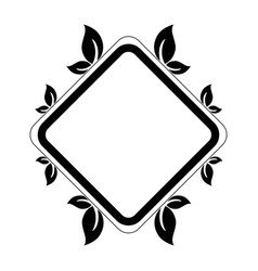 decorative frame with leaves icon vector image