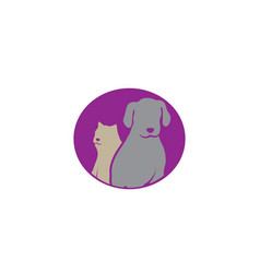 dog beside cat a friendly pet family logo design vector image