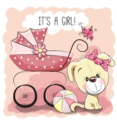 Dog with baby carriage vector