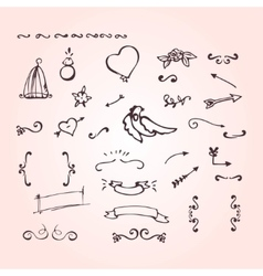 Doodle elements ornate arrow heart flower vector