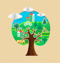 eco friendly tree concept with sustainable city vector image