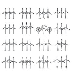 electric wind turbine icons set outline style vector image